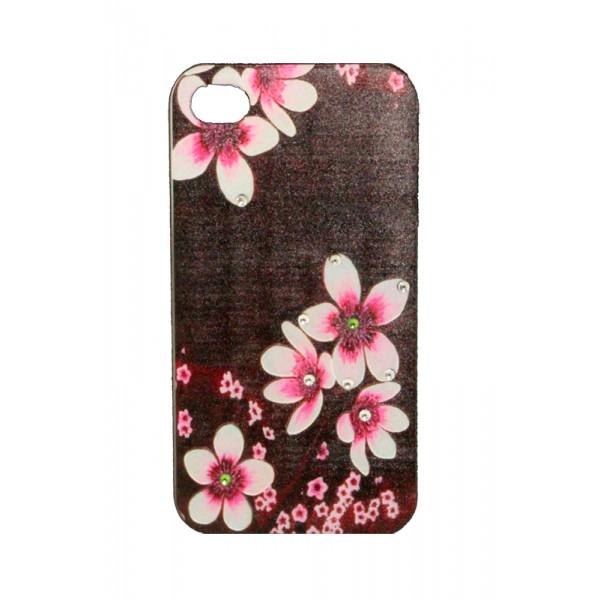 Чехол Накладка для iPhone 4/4S LAVAS SWAROVSKI Flower (Коричневый) (Пластик)