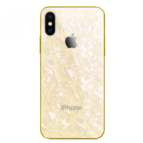 Чехол накладка iPhone Xs Max Glass Marble Case (gold)