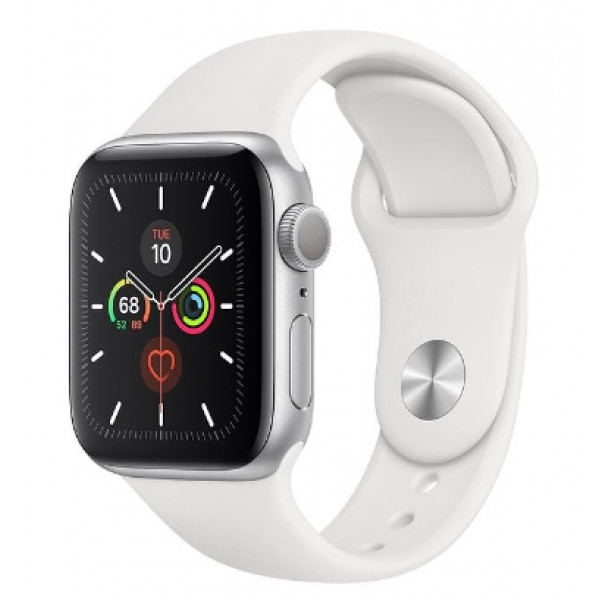 Apple Watch Series 5 GPS 40mm Silver Aluminum w. White b.- Silver Aluminum (MWV62)