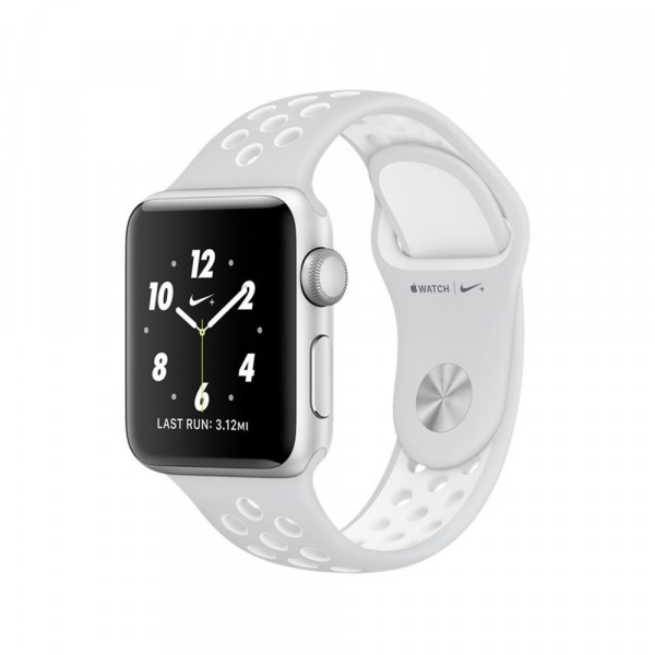 Apple Watch Nike+ 38mm Silver Aluminum Case with Pure Platinum/White Nike Sport Band (MQ172)