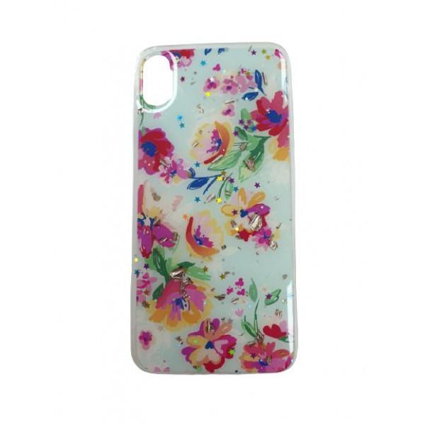 Чехол накладка iPhone Xs Max  Magic Flower (sky blue)
