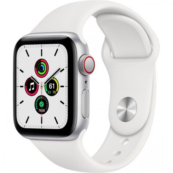 Apple Watch SE GPS + Cellular 40mm Silver Aluminum Case with White Sport B. (MYE82, MYEF2)