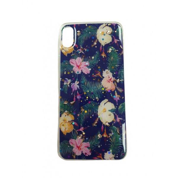 Чехол накладка iPhone Xs Max  Magic Flower (dark blue)