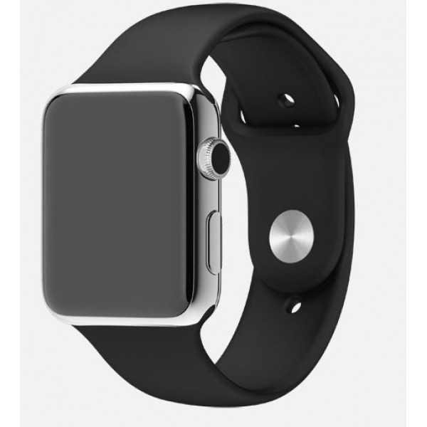Apple Watch 42mm Stainless Steel Case with Black Sport Band (MJ3U2)