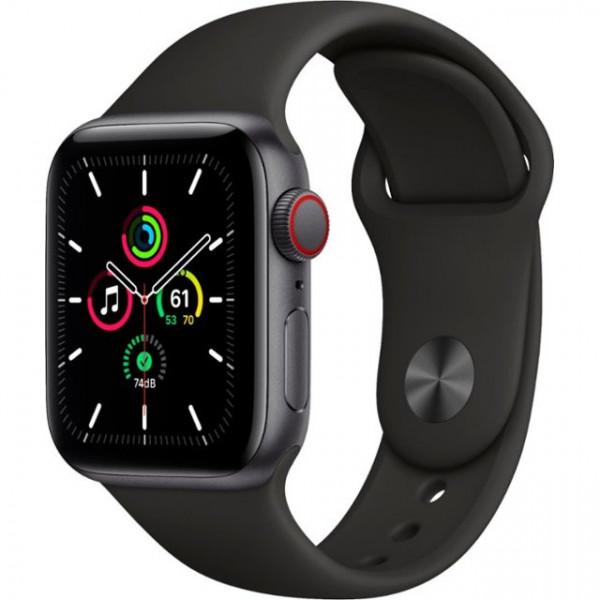 Apple Watch SE GPS + Cellular 40mm Space Gray Aluminum Case with Black Sport B. (MYED2, MYEK2)