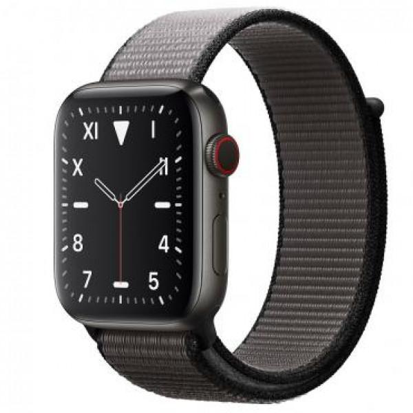 Apple Watch Series 5 GPS 44mm Space Black Titanium,Anchor Gray Sport Loop - Regular (MWQR2)