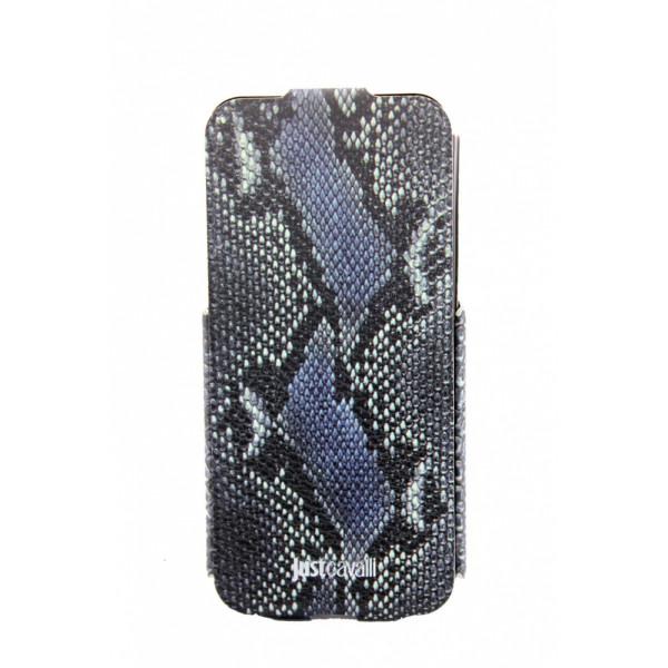 Чехол Флип для iPhone 5/5S JUSTCAVALLI OROGINAL LEOPARD  (синий) (кожа)