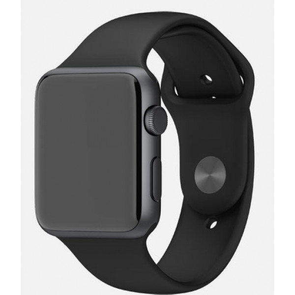 Apple Watch 38mm Space Gray Aluminum Case with Black Sport Band (MJ2X2)