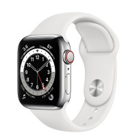 Apple Watch Series 6 GPS + Cellular 44mm Silver Stainless Steel Case w. White Sport B. (M07L3, M09D3)