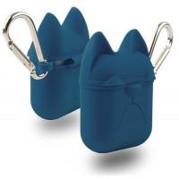 Чехол для AirPods Silicone Case Dog с карабином (midnight blue)