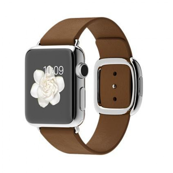 Apple Watch 38mm Stailnless Steel Case with Brown Modern Buckle (MJ3D2)
