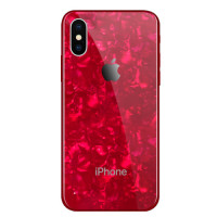 Чехол накладка iPhone Xs Max Glass Marble Case (red)