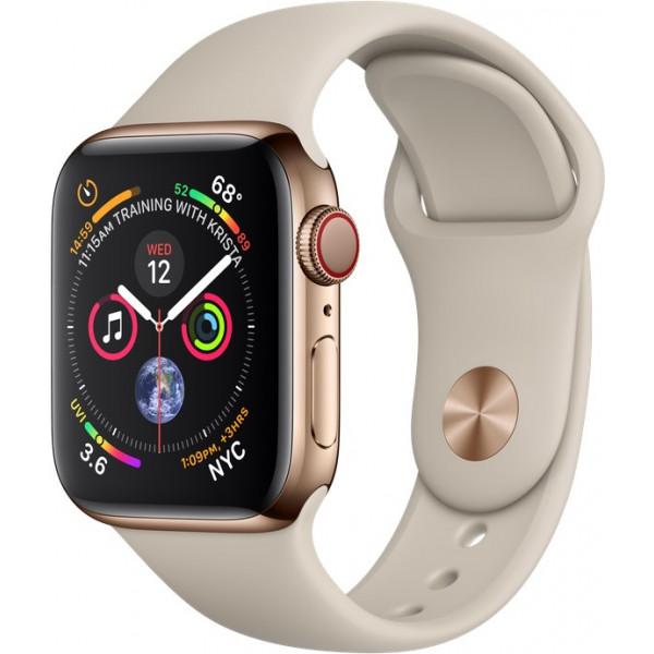 Apple Watch Series 4 GPS + LTE 40mm Gold Steel w. Stone Sport B. (MTUR2)