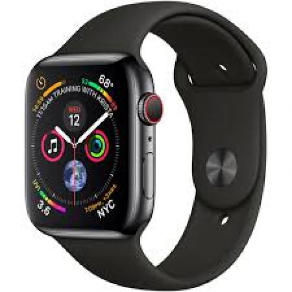 Apple Watch Series 4 GPS + LTE 44mm Black Steel w. Black Sport b. Black Steel (MTX22)