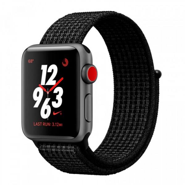 Apple Watch Nike+ Series 3 (GPS + Cellular) 38mm Space Gray Aluminum w. Black/Pure PlatinumSport L. (MQL82)