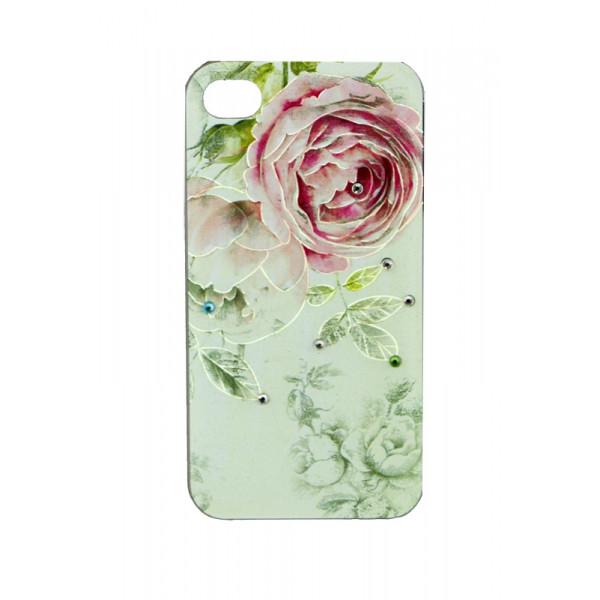 Чехол Накладка для iPhone 4/4S LAVAS SWAROVSKI Rose (Белый) (Пластик)