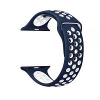 Ремешок-браслет для Apple Watch 38mm Silicone Nike Sport Band (blue-white)