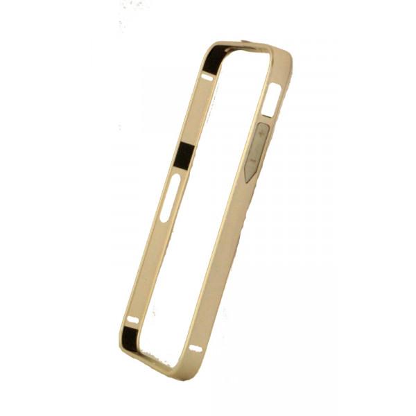 Бампер для iPhone 5/5S CROSS CASE 0.7mm (Золотой) (Метал)