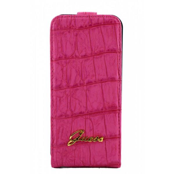 Чехол Флип для iPhone 5/5S GUESS Crocodile (розовый) (кожа)