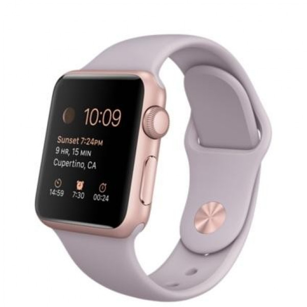 Apple Watch 38mm Rose Gold Aluminum Case with Laveder Sport Band (MLCH2)