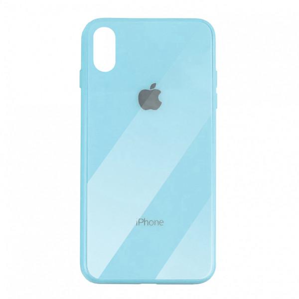 Чехол накладка iPhone Xs Max Glass Plastic Case Logo (blue)
