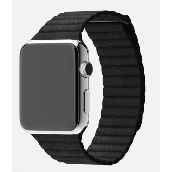 Apple Watch 42mm Stainless Steel Case with Black Leather Loop (MJYP2)