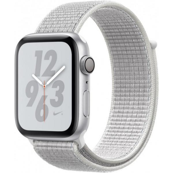 Apple Watch Nike+ Series 4 GPS + LTE 44mm Silver Alum. w. Summit White Nike Sport l. Silver Alum. (MTXA2)