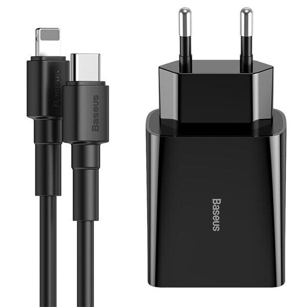 Сетевое зарядное устройство Baseus Speed Mini PD Single Type-C Quick Charge 18W  with Cable Type-c to iP PD 18W (Black)
