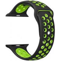 Ремешок-браслет для Apple Watch 38mm Silicone Nike Sport Band (Black-Green)
