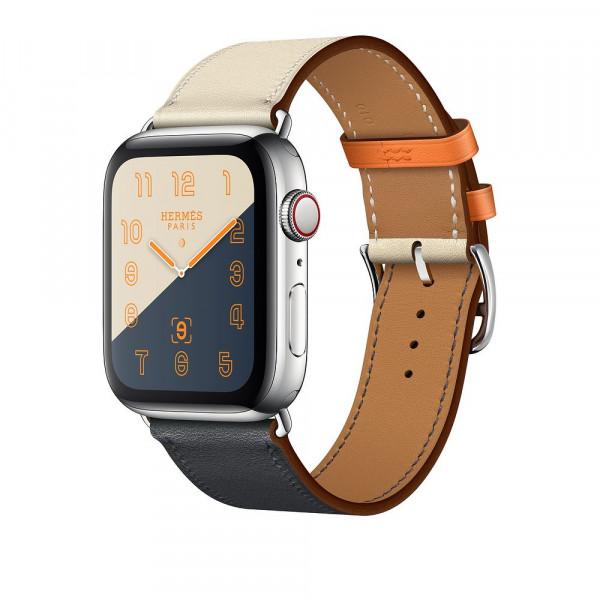 Apple Watch Hermes Series 4 GPS + Cellular 44mm Stainless Steel Case with Indigo/Craie/Orange Swift Leather Single Tour (MU782)