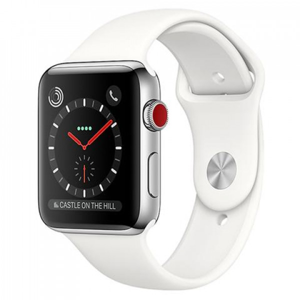 Apple Watch Series 3 GPS + Cellular 38mm Stainless Steel w. Soft White Sport B. (MQLV2)