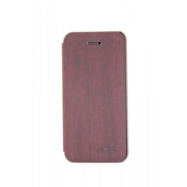 Чехол Книжка для iPhone 5/5S AiYa  (коричневый) (дерево)