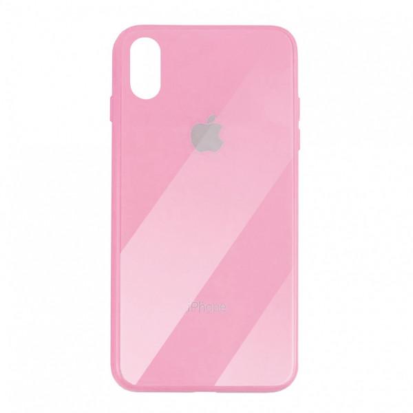 Чехол накладка iPhone Xs Max Glass Plastic Case Logo (pink)