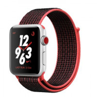Apple Watch Nike+ Series 3 GPS + Cellular 42mm Silver Aluminum w. Bright Crimson/BlackSport L. (MQMG2)
