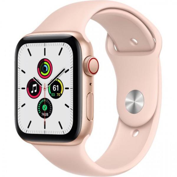 Apple Watch SE GPS + Cellular 44mm Gold Aluminum Case with Pink Sand Sport B. (MYEP2, MYEX2)