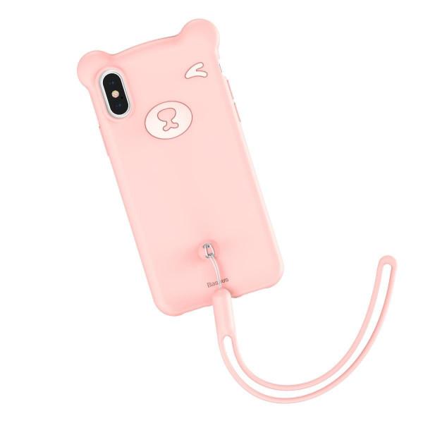 Чехол накладка iPhone Xs Max Baseus Bear  Case (pink)