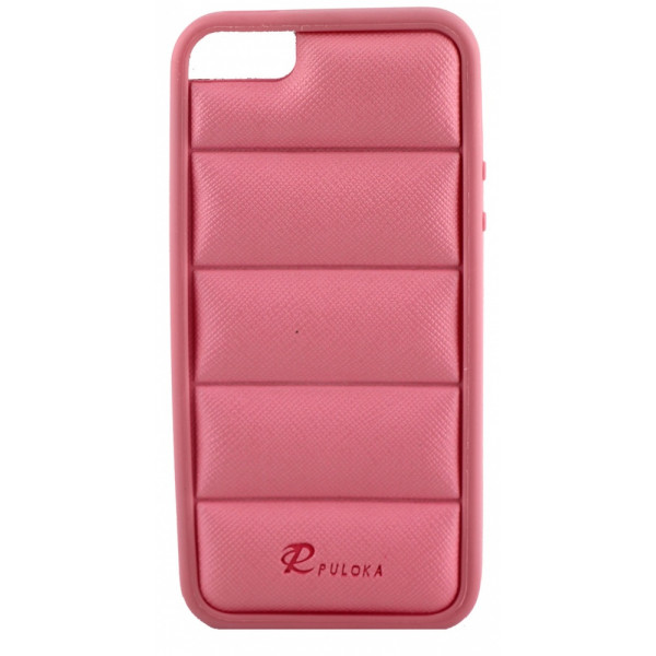 Чехол Накладка для iPhone  5/5S PULOKA (Бледно розовый) (Силикон)