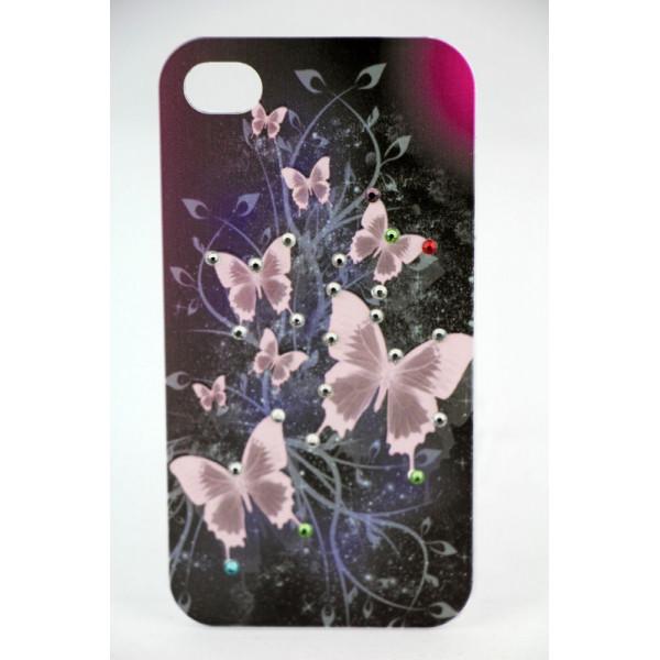 Чехол Накладка для iPhone 4/4S LAVAS SWAROVSKI Butterfly (Черный) (Пластик)
