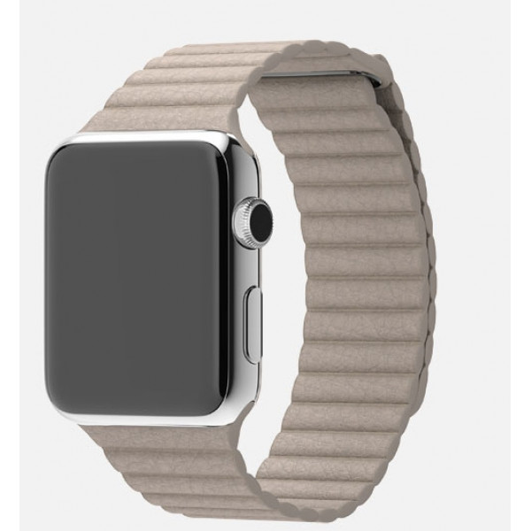 Apple Watch 42mm Stainless Steel Case with Stone Leather Loop (MJ442)