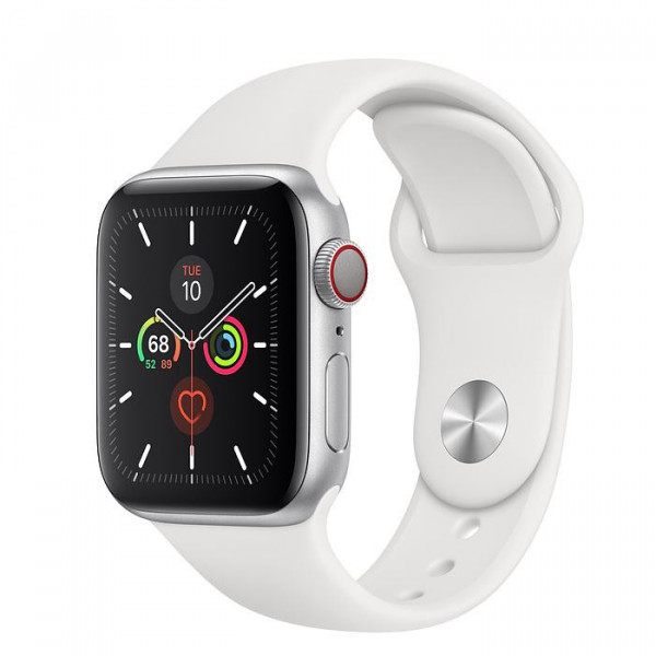 Apple Watch Series 5 LTE 44mm Silver Aluminum w. White b.- Silver Aluminum (MWWN2, MWX12)