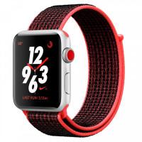 Apple Watch Nike+ Series 3 GPS + Cellular 42mm Silver Aluminum w. Bright Crimson/BlackSport L. (MQLE2)