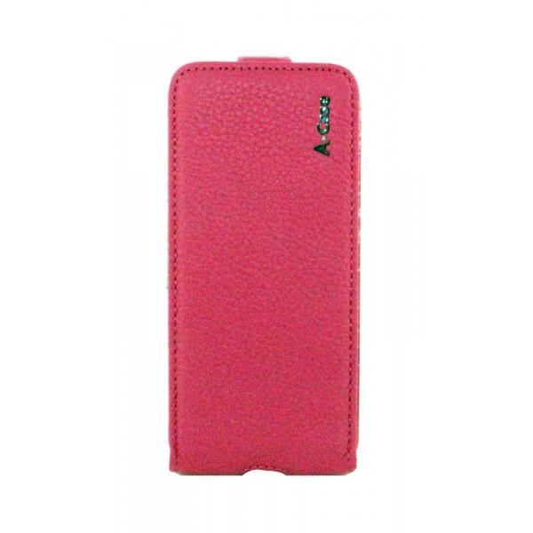 Чехол Флип для iPhone 5/5S A-CASE FLIP  (Розовый) (Кожа)
