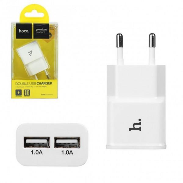 Сетевое зарядное устройство Hoco 2USB UH202 Smart (white)