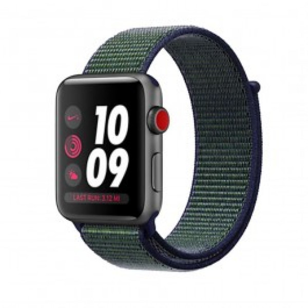 Apple Watch Nike+ Series 3 GPS + Cellular 42mm Space Gray Aluminum with Mig Fog Sport Loop (MQLH2)