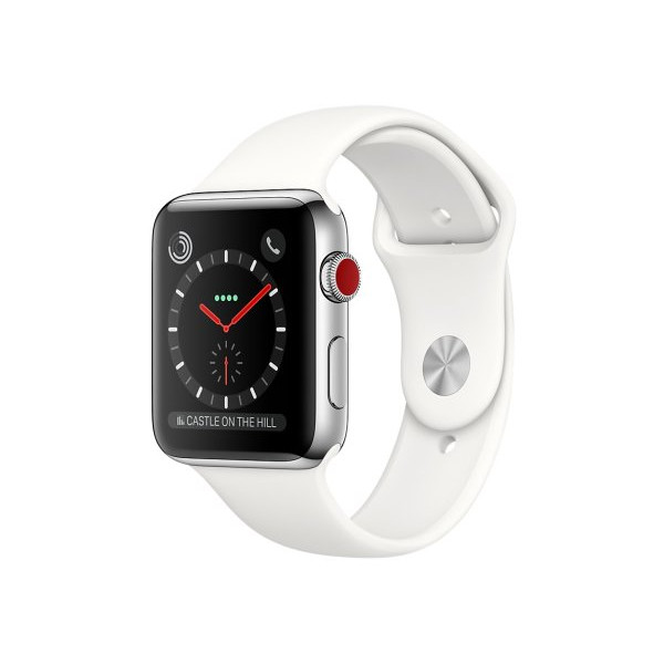Apple Watch 42mm Series 3 Cellular Stainless Steel w. Soft White Sport b. (MQLY2)