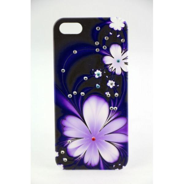 Чехол Накладка для iPhone  5/5S LAVAS SWAROVSKI Fower (Фиолетовый) (Пластик)
