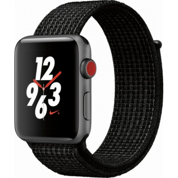 Apple Watch Series 4 Nike+ GPS+Cellular 44mm Space Gray Aluminum Case with Black Nike Sport Loop (MTXL2)