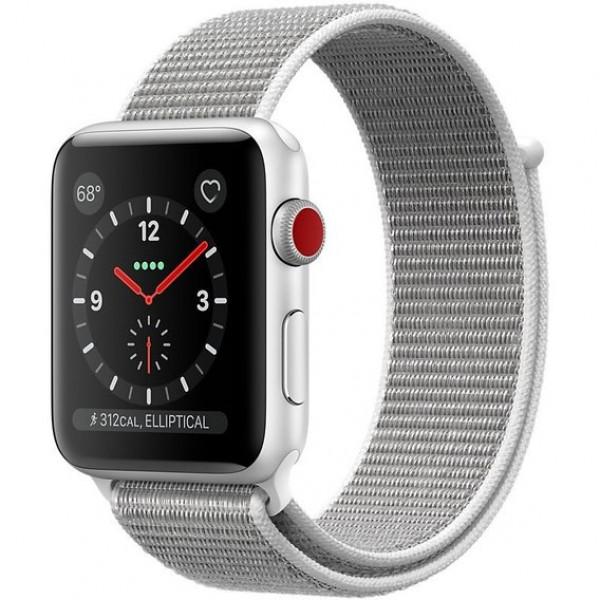 Apple Watch Series 3 GPS + Cellular 42mm Silver Aluminum w. Seashell Sport L. (MQKQ2)