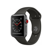 Apple Watch Series 3 GPS + Cellular 38mm Space Gray Aluminum Case with Black Sport Band (MQKG2)