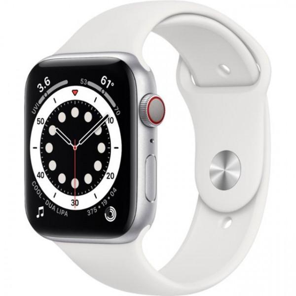 Apple Watch Series 6 GPS + Cellular 44mm Silver Aluminum Case w. White Sport B. (M07F3)